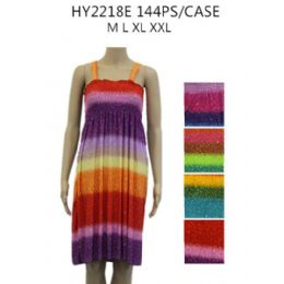 144 Units of Ladies Summer Dress Rainbow Style - Womens Sundresses & Fashion