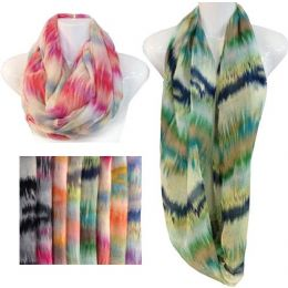 24 Units of Infinity Circle Scarves Tie Dye Effect Assorted Colors - Womens Fashion Scarves