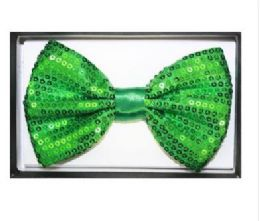 48 Units of Green Sequined Bow Tie 025 - Neckties