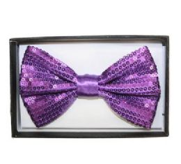 48 Units of Purple Sequined Bow Tie 018 - Neckties