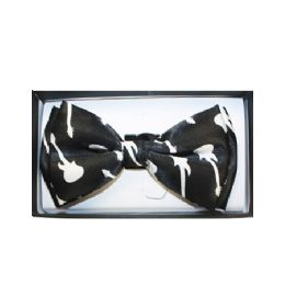 72 Units of Black Bow Tie W/ Guitar - Neckties