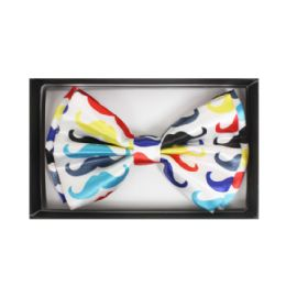 48 Units of White Bow Tie W/ Colorful Mustaches - Neckties