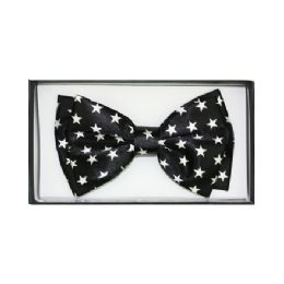48 Units of Black Bow Tie W/ White Stars - Neckties