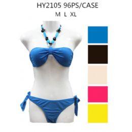 48 Units of Ladies Solid Color 2Pc Swim set - Womens Swimwear