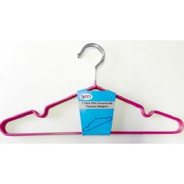 48 Units of Diny Metal 3 Pack Clothes Hanger Red With Lingerie Groove - Hangers