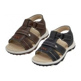 24 Units of Boy's Velcro Strap Sandals - Boys Flip Flops & Sandals