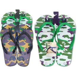 72 Units of Mens Assorted Army Print Flip Flops - Men's Flip Flops and Sandals