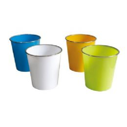 48 Units of Wastebasket With Metalic Rim 8.5 Inches Diameters X9 Inches Height - Waste Basket