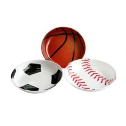 48 Units of Round Sports Tray - Plastic Bowls and Plates