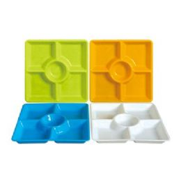 48 Units of 5 Section Square Tray 12.5'' - Serving Trays