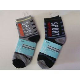 288 Units of Sock Boy 2pk/set 4asst Color - Boys Crew Sock