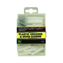 48 Units of Plastic Anchors & Wood Screws - Hardware Miscellaneous
