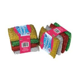 48 Units of 4 Piece Sponge Filled Scourers - Scouring Pads & Sponges