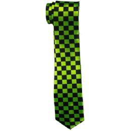 96 Units of Men's Green And Black Checkered Slim Tie - Neckties