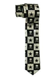 96 Units of Silver And Black Skeleton And Star Tie - Neckties
