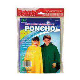 72 Units of Child Emergency Rain Poncho - Umbrellas & Rain Gear