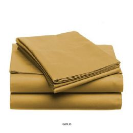 12 Units of 3 Piece Solid Sheet Set Gold Queen Size - Sheet Sets