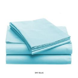 12 Units of 3 Piece Solid Sheet Set Lt. Blue Queen Size - Sheet Sets