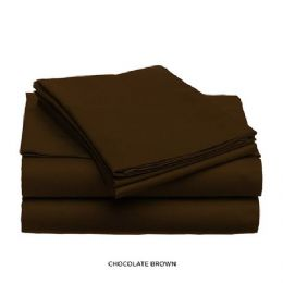 12 Units of 3 Piece Solid Sheet Set Chocolate King Size - Sheet Sets