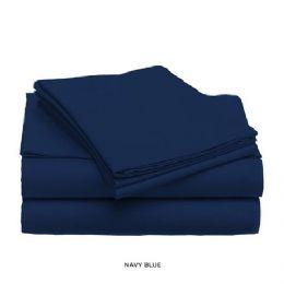 12 Units of 3 Piece Solid Sheet Set Navy King Size - Sheet Sets