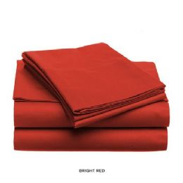12 Units of 3 Piece Solid Sheet Set Red King Size - Sheet Sets