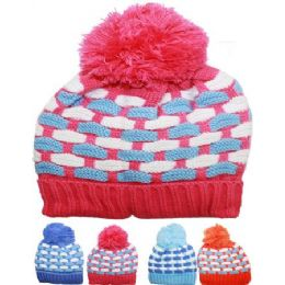 72 Units of Kid Winter Hat Assorted Color With Pom Pom - Junior / Kids Winter Hats