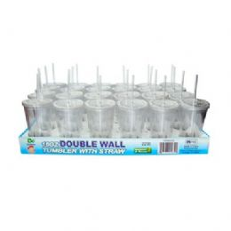 24 Units of 16oz Double Wall Tumbler With Straw