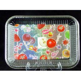 96 Units of retangle tray fruit design - Plastic Serving Ware