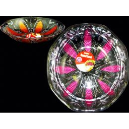 48 Units of round crystal bowl w/paint - Plastic Serving Ware