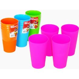 96 Units of 4 asst plastic tumblers - Plastic Drinkware