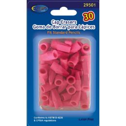 96 Units of Pencil -Top Erasers, 30 Ct., Pink - Erasers