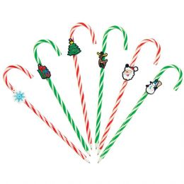 72 Units of Candy Cane Pen With Charm And Scented Ink - Christmas Novelties