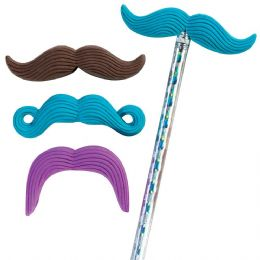 144 Units of Mr. Mustache Eraser Topper - Pencil Grippers / Toppers