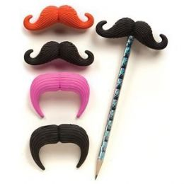 96 Units of Mustache Eraser Pencil Topper - Pencil Grippers / Toppers
