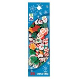 96 Units of 35-Ct Christmas Mini Eraser Pack - Christmas Novelties