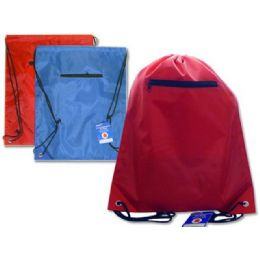 """144 Units of BAG BACKPACK 13X16.25""""W/ZIPPER BLUE,RED,BLACK CLR - Bags Of All Types"""