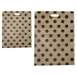 """300 Units of SH0PPING BAG POLKA DOT 14X20""""BROWN CLR - Bags Of All Types"""