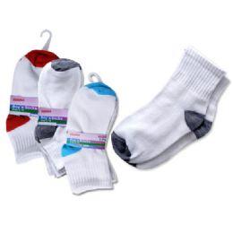 288 Units of SOCKS 3 PAIR BOY'S 3-10YRED+BL+GREY - Boys Ankle Sock