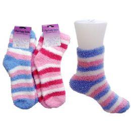 144 Units of Striped Fuzzy Sock - Womens Fuzzy Socks