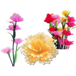 144 Units of PIE FLOWER 4HEADS 6ASST CLR - Artificial Flowers