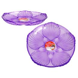 48 Units of Crystal Like Round Tray Purple - Plastic Serving Ware