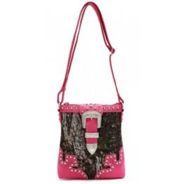 12 Units of Rhinestone Buckle Camo Messenger Bag Purse Fuchsia - Shoulder Bags & Messenger Bags