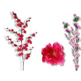 144 Units of FLOWER  CHERRY BLOSSOM 60 HEAD 1264ASST CLR - Artificial Flowers