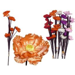 144 Units of FLOWER  POPPY 5HEAD 108CM L 6ASST - Artificial Flowers