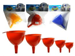 72 Units of 5 Piece Funnel Set - Strainers & Funnels