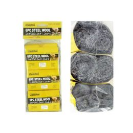 72 Units of STEEL WOOL 6PC/SET - Scouring Pads & Sponges