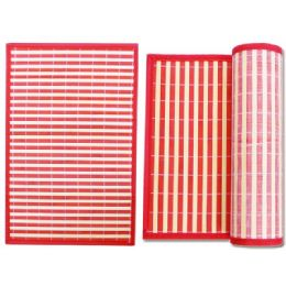 "96 Units of PLACEMAT BAMBOO 17.7X11.8""UPC. RED - Placemats"