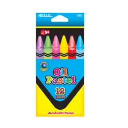 144 Units of BAZIC 12 Color Jumbo Oil Pastel - Chalk,Chalkboards,Crayons