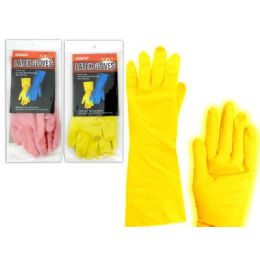 144 Units of GLOVE RUBBER MEDIUMPINK+YELLOW - Kitchen Gloves