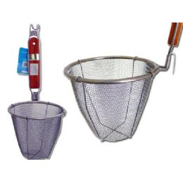 48 Units of Strainer Deep W/wooden Handle 14x33cm - Strainers & Funnels